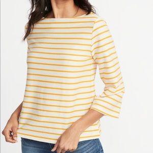 Old Navy women's yellow stripe textured boat neck
